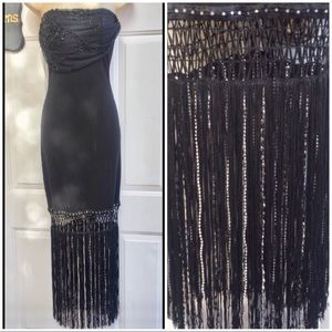 DAVID MEISTER Strapless Beaded Fringe Midi Dress 4
